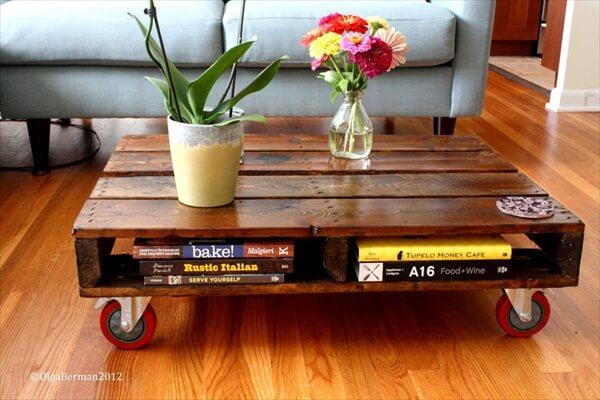 one pallet rolling coffee table