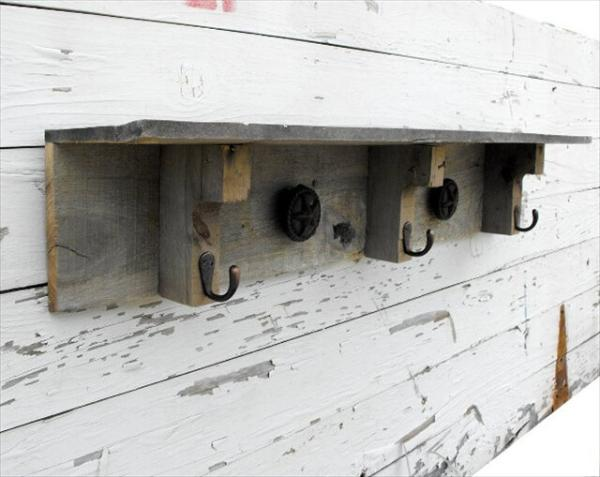 Pallet Shelves with Hooks