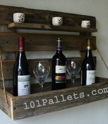 Handmade Pallet Wine Rack with Rustic Shelf