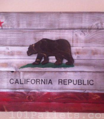 California State Flag from Wooden Pallet