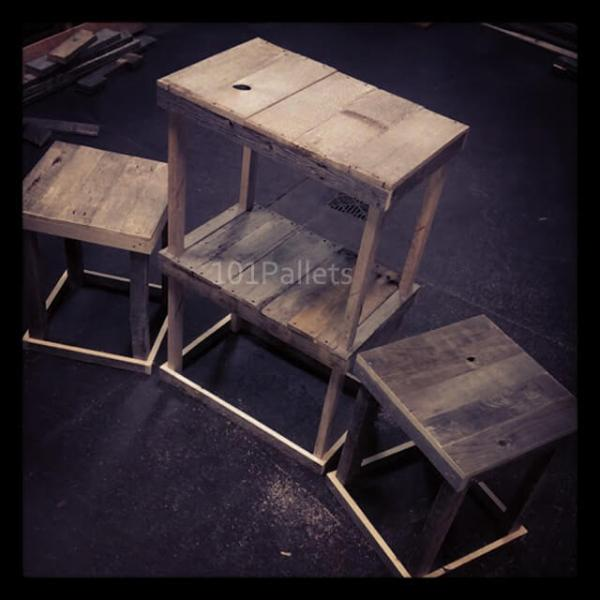 3 Piece Set of Pallet Wood Tables
