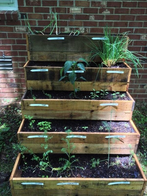 Pallet herb garden 101 pallets for Wood pallet herb garden