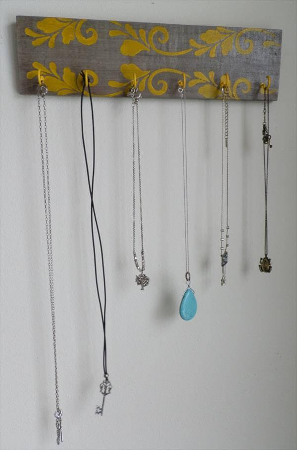 Upcycled Pallet Necklace Hanger