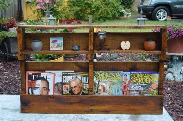 Wooden Pallet Magazine Rack