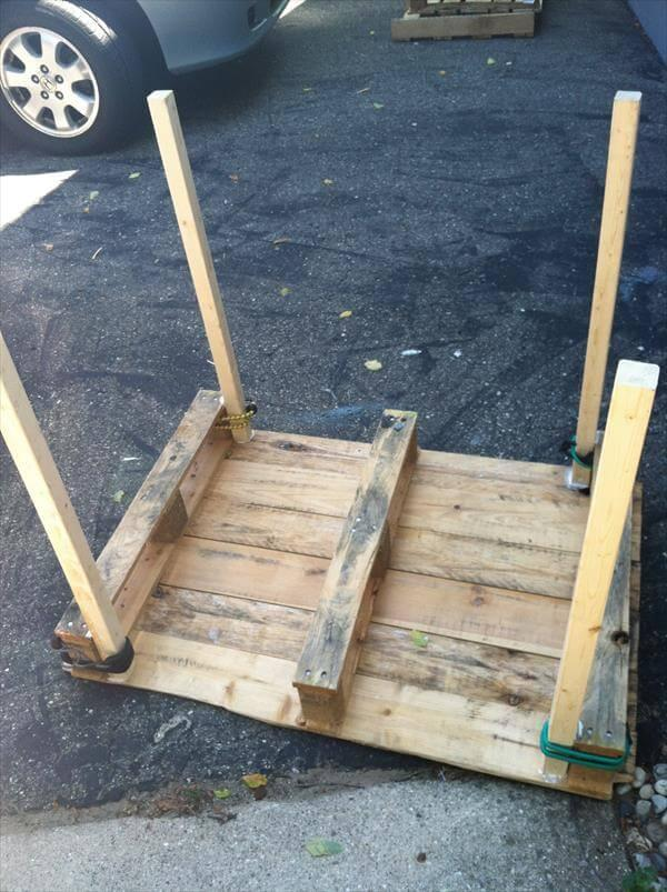 attching of legs in pallet garden table
