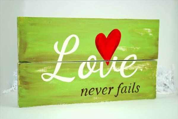 recycled pallet love sign badge