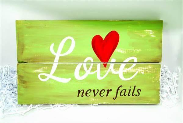 repuposed wooden love wall art