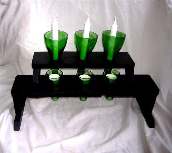 recycled pallet bottle candle holder