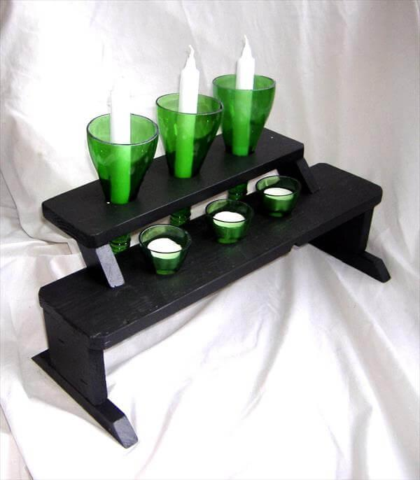 repurposed pallet bottle candle holder