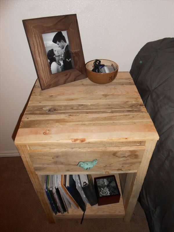 Wooden pallet furniture projects 101 pallets do it yourself night stand solutioingenieria Choice Image