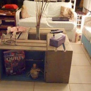 recycled pallet crate coffee table