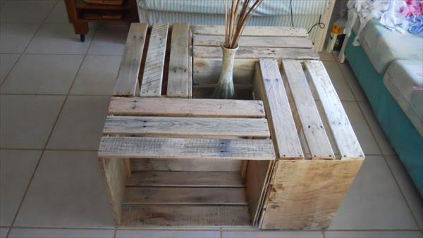 repurposed pallet crate coffee table
