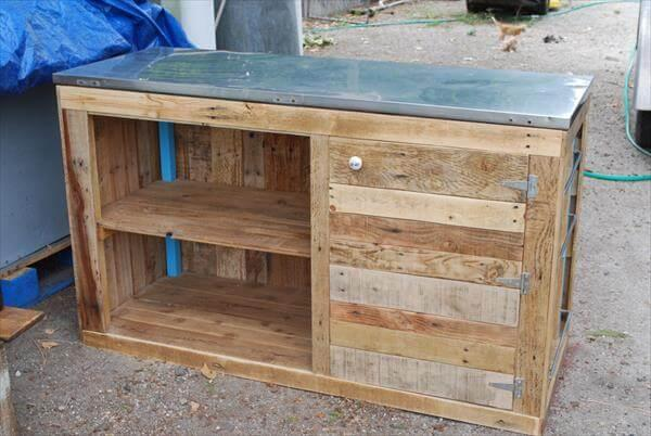 upcycled pallet storage unit