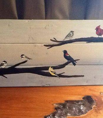 recycled pallet bird wall art