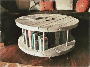 recycled pallet cable reel coffee table