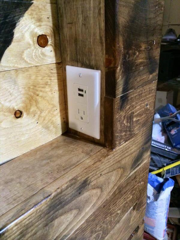 upcycled pallet headboard charging station