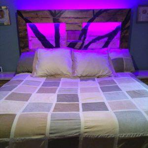 repurposed pallet headboard with LED lights