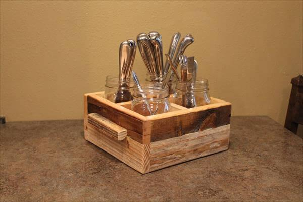 Diy Pallet Mason Jars Utensils Holder 101 Pallets