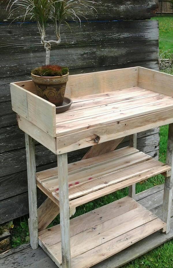 Super Diy Potting Bench Made With Pallets 101 Pallets Ibusinesslaw Wood Chair Design Ideas Ibusinesslaworg