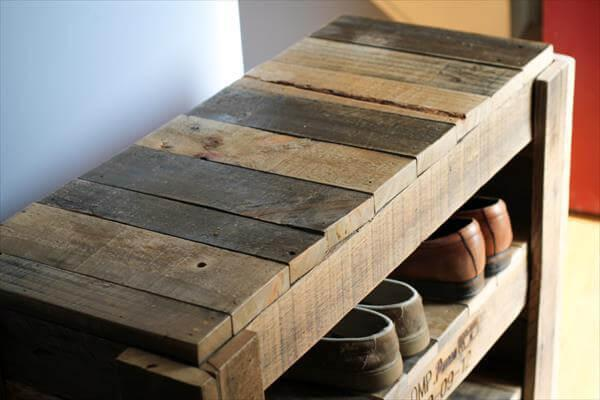 upcycled pallet shoes shelf