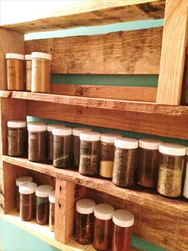 upcycled pallet kitchen spice rack