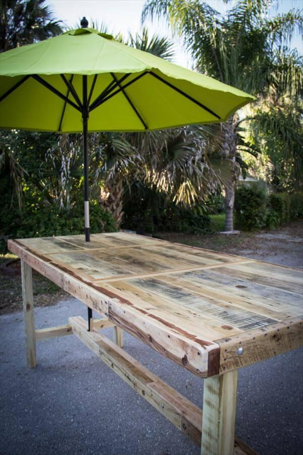 recycled pallet umbrella table