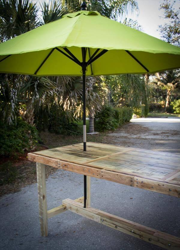 reclaimed pallet umbrella table