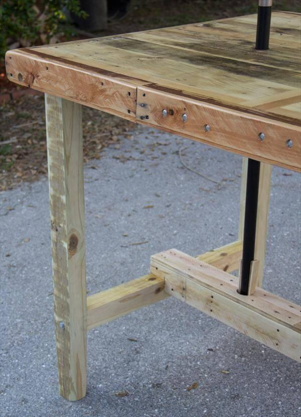 repurposed pallet umbrella table