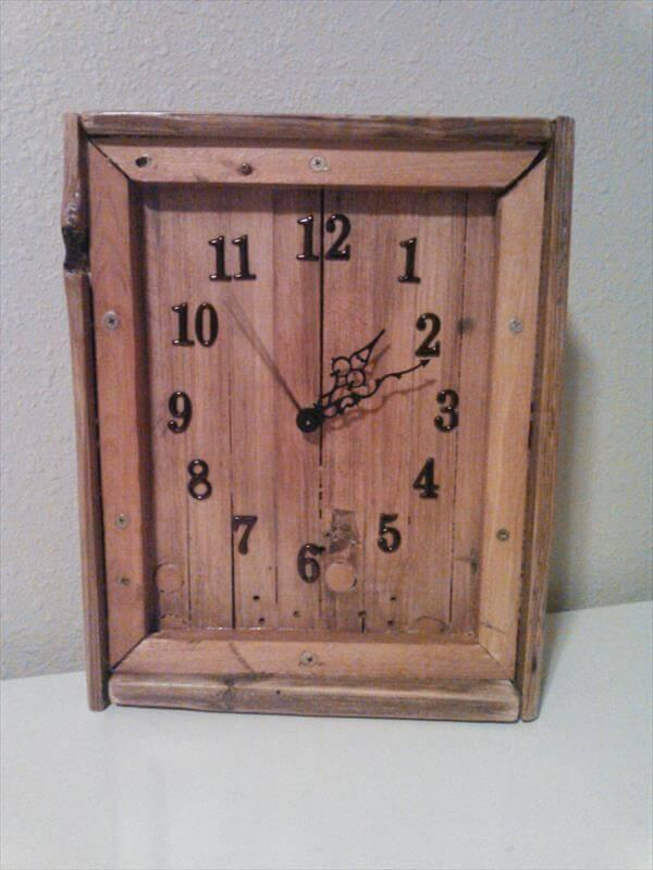 reclaimed rustic pallet wall clock