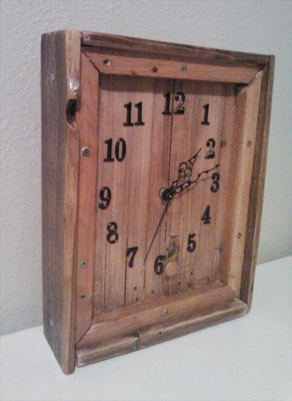 upcycled pallet wood wall clock