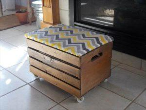 upcycled crate ottoman with casters