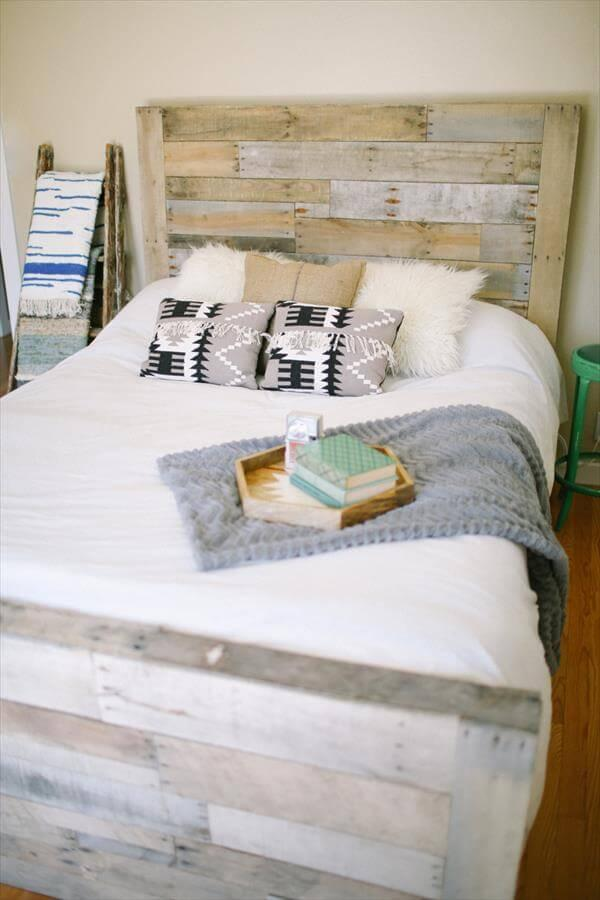 upcycled pallet bed idea