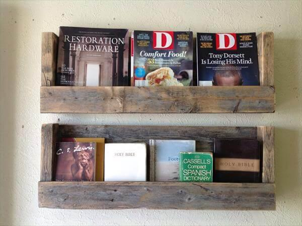 restored pallet bookshelves