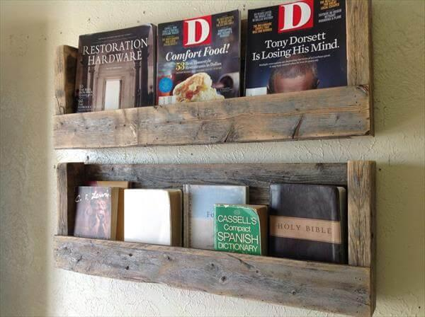 upcycled pallet bookshelves