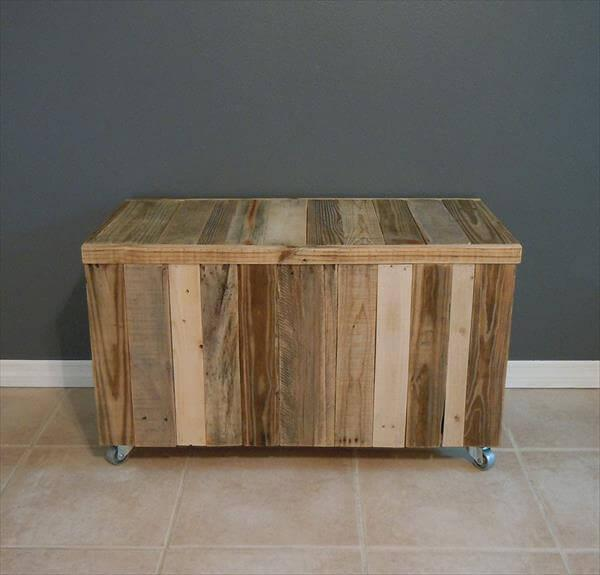 upcycled pallet chest with wheels