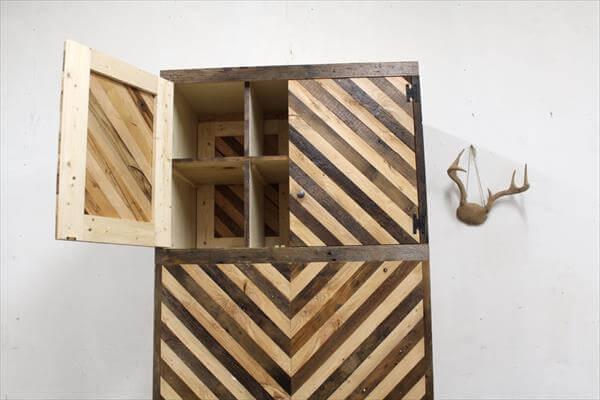 handcrafted pallet chevron closet