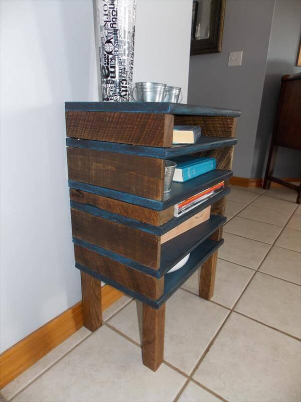 Diy Pallet End Table With 5 Shelves 101 Pallets