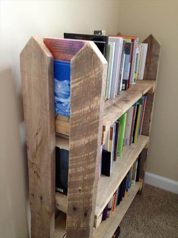 upcycled pallet fence bookshelf