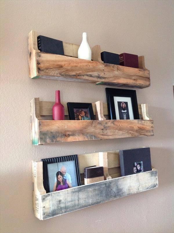 restored pallet shelves