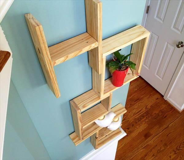 upcycled pallet shelves and wall art