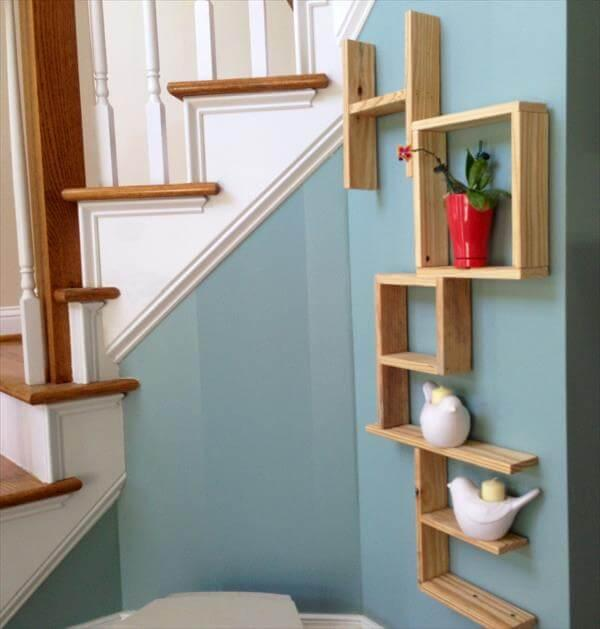 recycled pallet wall art and shelves