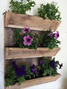 repurposed pallet triple tier wall planter