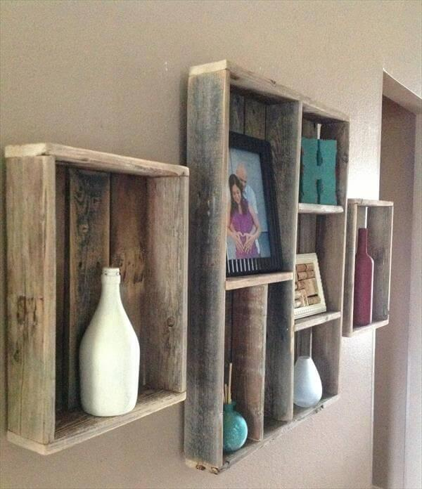 repurposed pallet wall shelves
