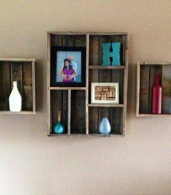 recycled pallet wall shelves