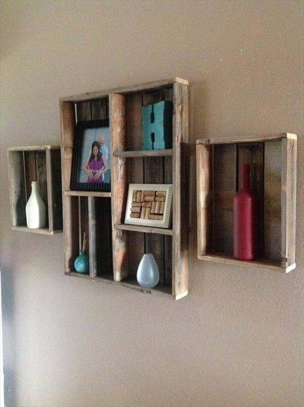 upcycled pallet wall shelves