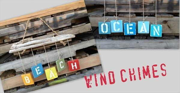 upcycled pallet wind chimes