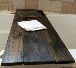 recycled pallet bath tub book tray