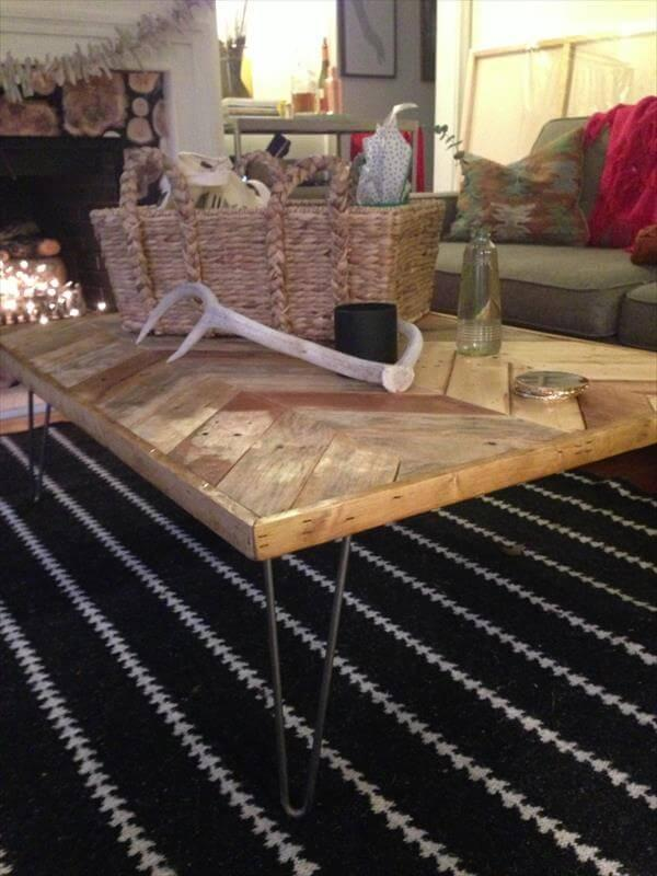 recycled chevron coffee table