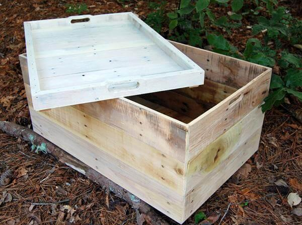 upcycled pallet coffee table with tray lid