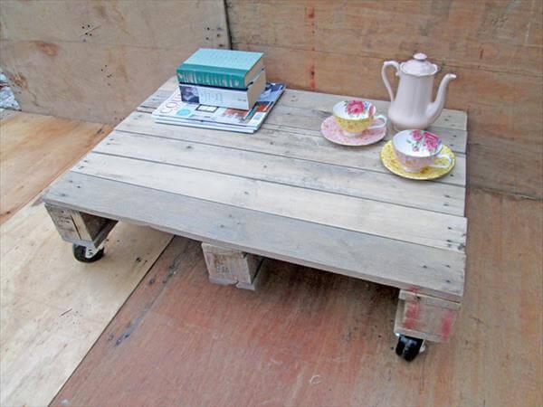 reclaimed pallet coffee table on wheels